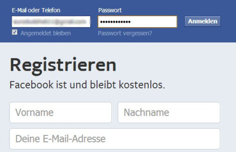 Registrieren Facebook