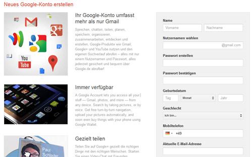 Gmail konto registrieren
