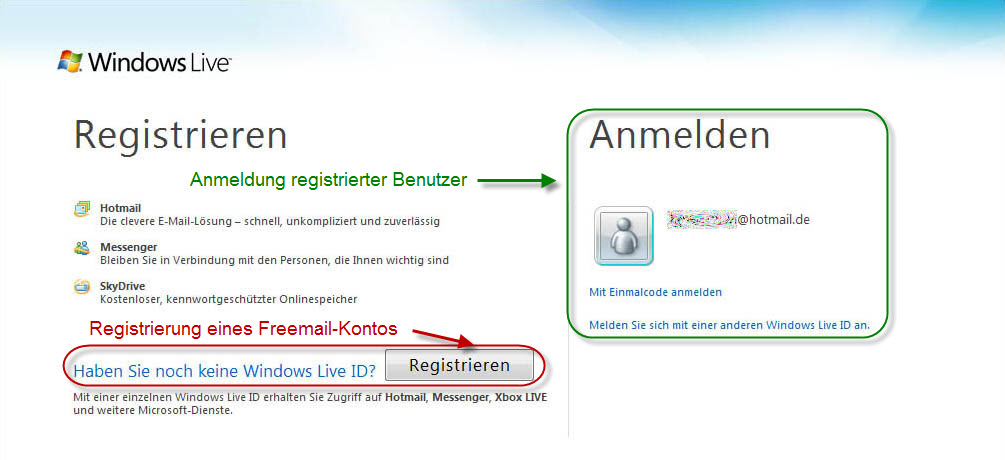 Hotmail registrieren