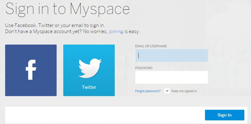myspace Login Mail