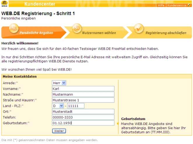 Web De Neu Registrieren