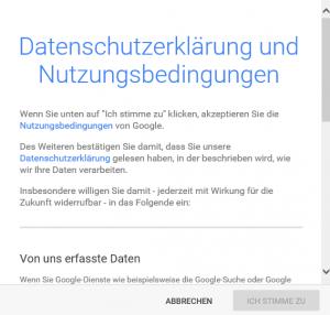 Google+ Konto Datenschutz