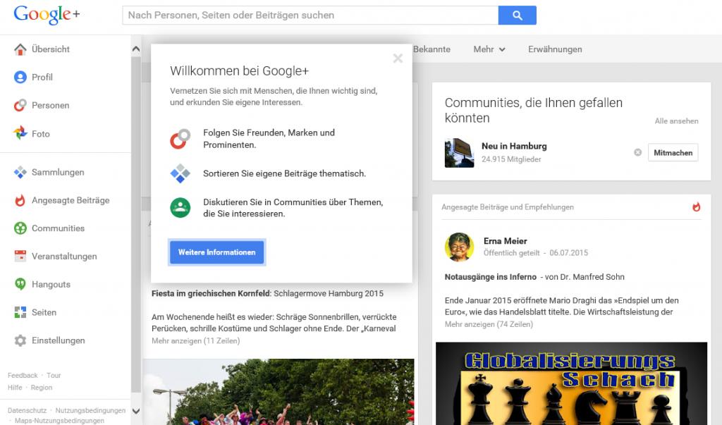 Google+ Startseite