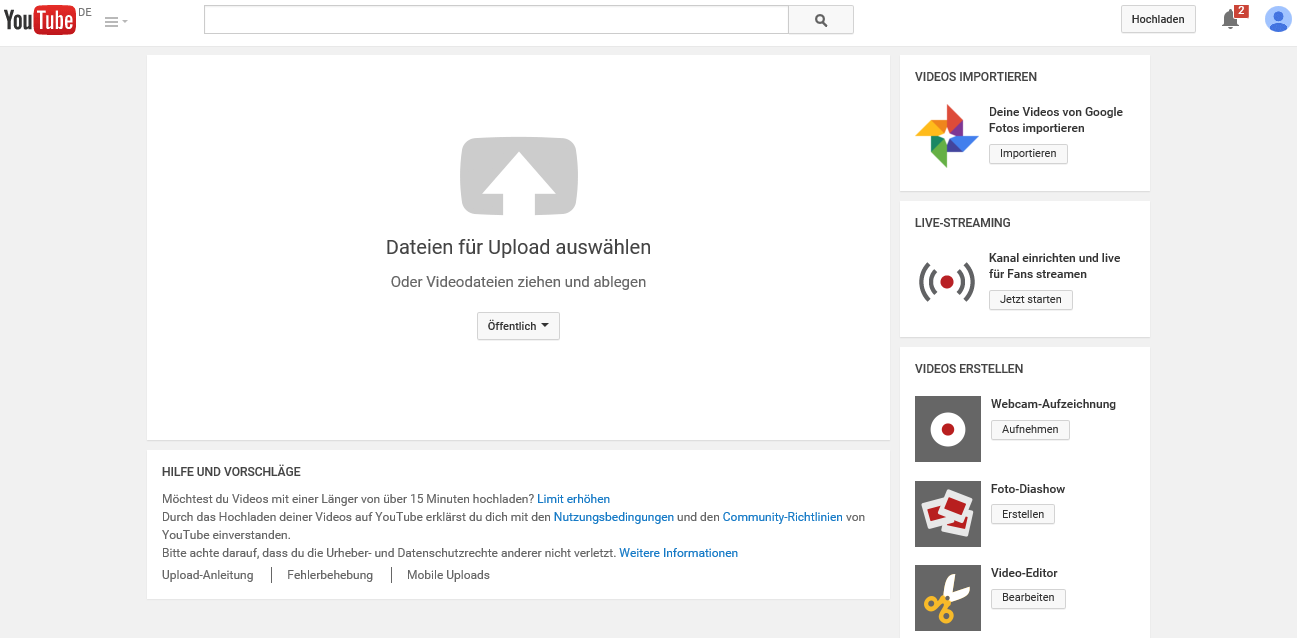 YouTube Login Upload